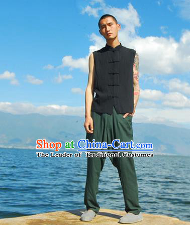 Asian China National Costume Black Linen Vests, Traditional Chinese Tang Suit Plated Buttons Upper Outer Garment Waistcoat Clothing for Men