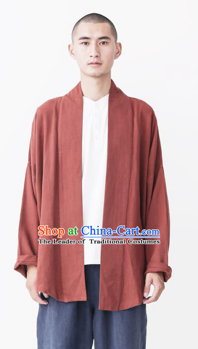 Asian China National Costume Red Linen Cardigan, Traditional Chinese Tang Suit Coat Clothing for Men