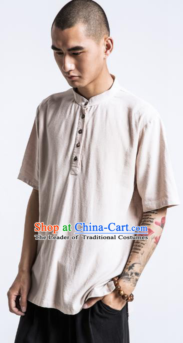 Asian China National Costume Beige Linen Stand Collar T-Shirts, Traditional Chinese Tang Suit Coconut Buttons Upper Outer Garment Clothing for Men