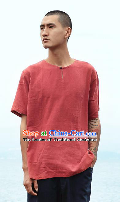 Asian China National Costume Red Linen T-Shirts, Traditional Chinese Tang Suit Coconut Buttons Upper Outer Garment Clothing for Men