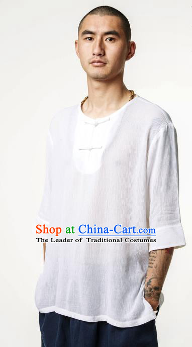 Asian China National Costume White Linen T-Shirts, Traditional Chinese Tang Suit Plated Buttons Upper Outer Garment Clothing for Men
