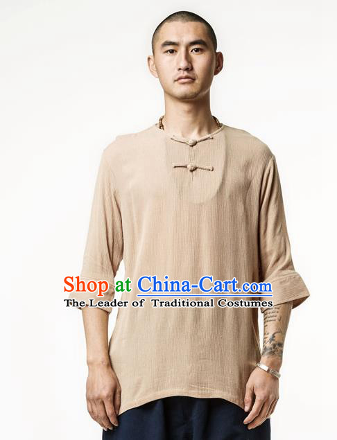 Asian China National Costume Khaki Linen T-Shirts, Traditional Chinese Tang Suit Plated Buttons Upper Outer Garment Clothing for Men