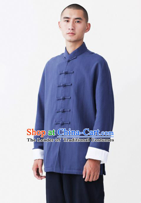Asian China National Costume Blue Linen Shirts, Traditional Chinese Tang Suit Plated Buttons Upper Outer Garment Clothing for Men