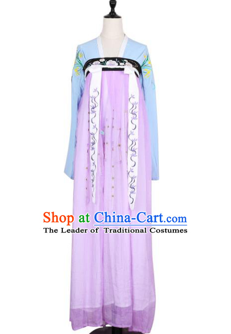 Asian China Tang Dynasty Princess Embroidered Clothing Complete Set, Traditional Ancient Chinese Palace Lady Hanfu Lilac Silp Skirt Costume for Women