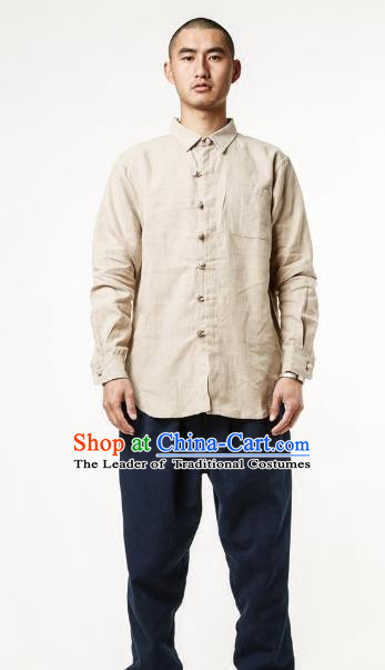 Asian China National Beige Linen Costume Martial Arts Kung Fu Shirts, Traditional Chinese Tang Suit Upper Outer Garment Clothing for Men