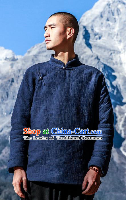 Asian China National Blue Linen Costume Martial Arts Kung Fu Jacket, Traditional Chinese Tang Suit Upper Outer Garment Coat Clothing for Men