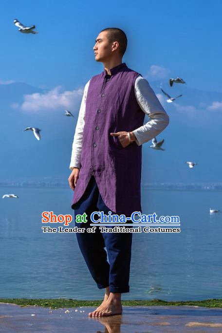 Asian China National Purple Linen Costume Martial Arts Kung Fu Vests, Traditional Chinese Tang Suit Upper Outer Garment Waistcoat Clothing for Men