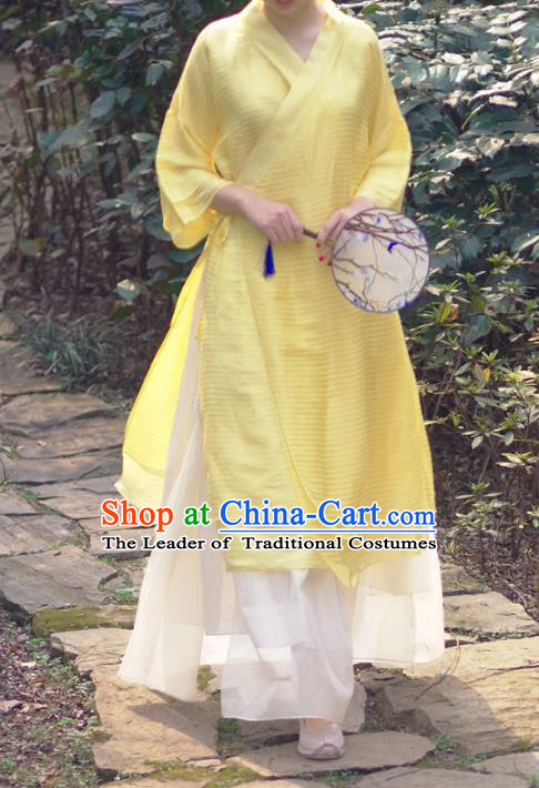Asian China National Costume Yellow Linen Hanfu Dress, Traditional Chinese Tang Suit Slant Opening Cheongsam Clothing for Women