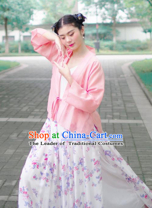 Asian China National Costume Pink Hanfu BeiZi, Traditional Chinese Tang Suit Cardigan Clothing for Women