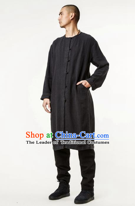 Asian China National Costume Black Linen Dust Coat, Traditional Chinese Tang Suit Slant Opening Coat Clothing for Men