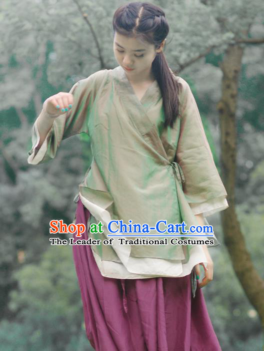 Asian China National Costume Green Hanfu Blouse, Traditional Chinese Tang Suit Upper Outer Garment Clothing for Women