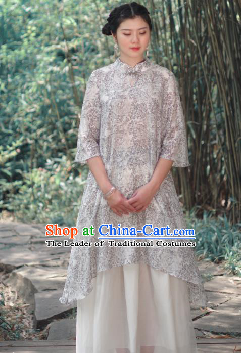 Asian China National Costume Printing Silk Hanfu Dress, Traditional Chinese Tang Suit Cheongsam Clothing for Women