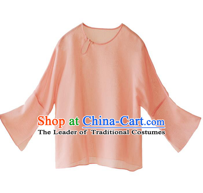 Asian China National Costume Pink Silk Hanfu Blouse, Traditional Chinese Tang Suit Cheongsam Upper Outer Garment Clothing for Women