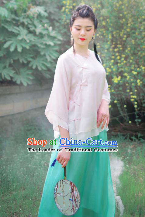 Asian China National Costume White Silk Hanfu Blouse, Traditional Chinese Tang Suit Cheongsam Upper Outer Garment Clothing for Women