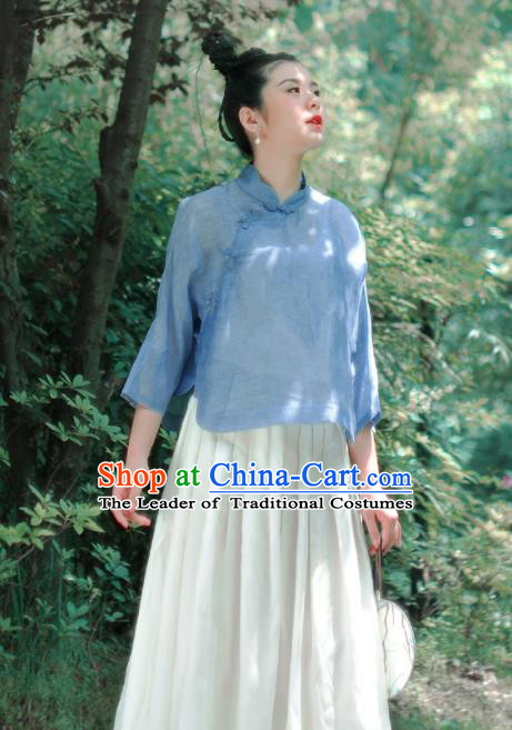 Asian China National Costume Blue Silk Hanfu Blouse, Traditional Chinese Tang Suit Cheongsam Shirts Upper Outer Garment Clothing for Women