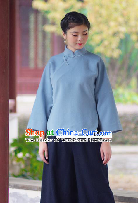 Asian China National Costume Slant Opening Blue Hanfu Blouse, Traditional Chinese Tang Suit Cheongsam Shirts Upper Outer Garment Clothing for Women