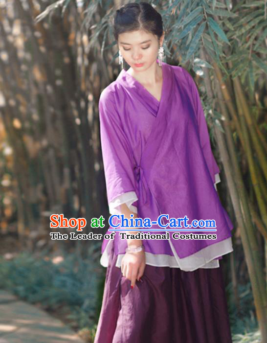 Asian China National Costume Slant Opening Purple Hanfu Blouse, Traditional Chinese Tang Suit Cheongsam Shirts Upper Outer Garment Clothing for Women