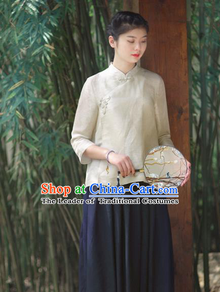 Asian China National Costume Slant Opening Beige Hanfu Blouse, Traditional Chinese Tang Suit Cheongsam Shirts Upper Outer Garment Clothing for Women