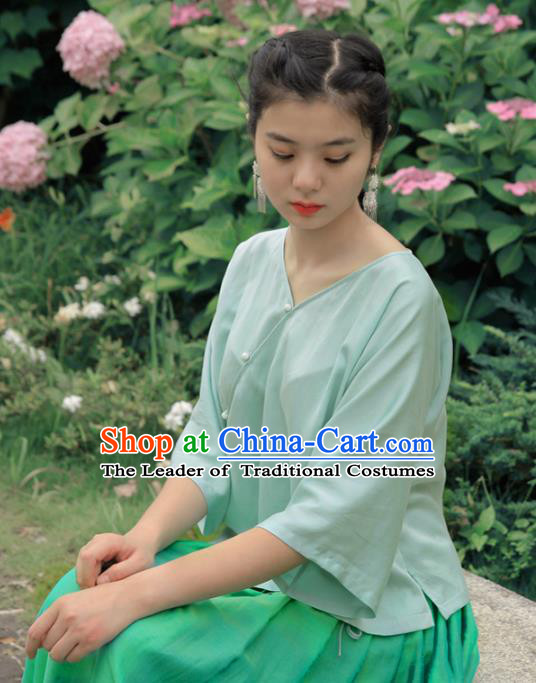 Asian China National Costume Slant Opening Green Silk Hanfu Blouse, Traditional Chinese Tang Suit Cheongsam Shirts Upper Outer Garment Clothing for Women