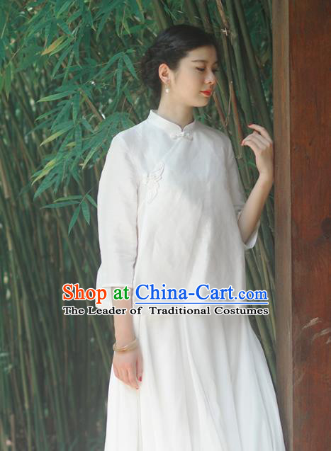 Asian China National Costume Slant Opening White Silk Hanfu Qipao Blouse, Traditional Chinese Tang Suit Cheongsam Shirts Upper Outer Garment Clothing for Women