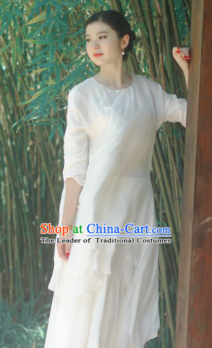 Asian China National Costume Slant Opening White Silk Hanfu Qipao Dress, Traditional Chinese Tang Suit Cheongsam Clothing for Women