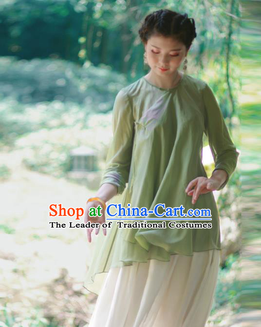 Asian China National Costume Slant Opening Green Silk Hanfu Qipao Blouse, Traditional Chinese Tang Suit Cheongsam Upper Outer Garment Clothing for Women
