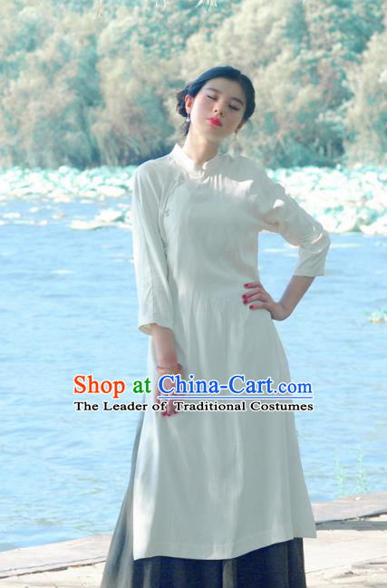 Asian China National Costume Slant Opening White Hanfu Qipao Dress, Traditional Chinese Tang Suit Cheongsam Clothing for Women