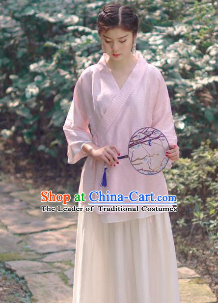 Asian China National Costume Slant Opening Pink Silk Hanfu Qipao Shirts, Traditional Chinese Tang Suit Cheongsam Blouse Clothing for Women