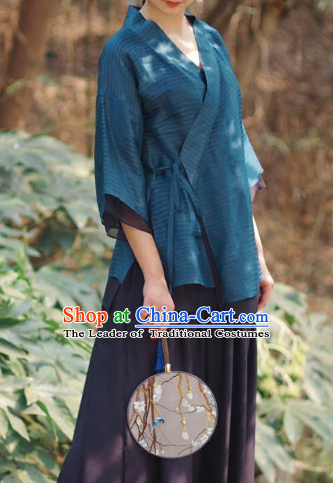 Asian China National Costume Slant Opening Blue Silk Hanfu Qipao Shirts, Traditional Chinese Tang Suit Cheongsam Blouse Clothing for Women