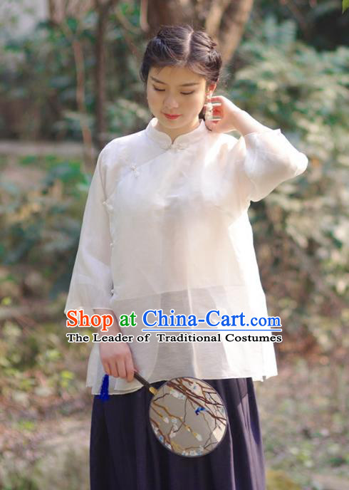 Asian China National Costume Slant Opening White Silk Hanfu Qipao Shirts, Traditional Chinese Tang Suit Cheongsam Blouse Clothing for Women