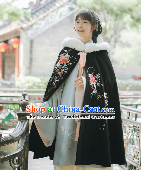 Asian China Ming Dynasty Princess Embroidered Black Cape, Traditional Ancient Chinese Palace Lady Elegant Hanfu Mantle for Women