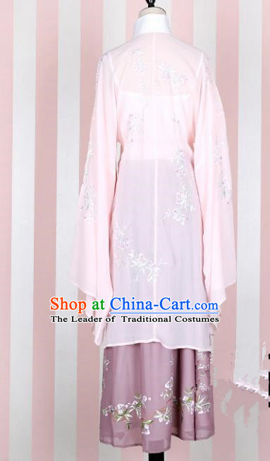 Asian China Ming Dynasty Imperial Princess Clothing Embroidered Pink Blouse Complete Set, Traditional Ancient Chinese Palace Lady Hanfu Clothing for Women