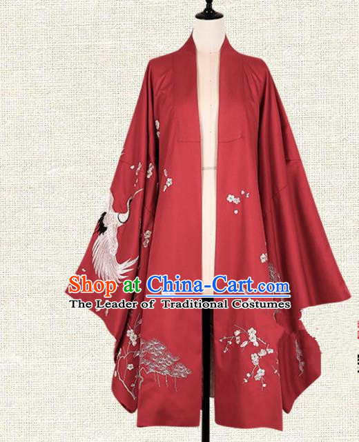 Asian China Ming Dynasty Princess Clothing Embroidered Red Wide Sleeve Cardigan, Traditional Ancient Chinese Palace Lady Hanfu Clothing for Women