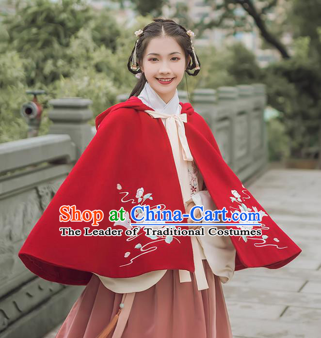 Asian China Ming Dynasty Palace Lady Costume Red Cape, Traditional Ancient Chinese Princess Elegant Embroidered Hanfu Cloak Clothing for Women