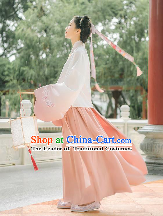 Asian China Ming Dynasty Princess Costume Embroidered White Blouse and Pink Skirt, Traditional Ancient Chinese Elegant Princess Hanfu Clothing for Women