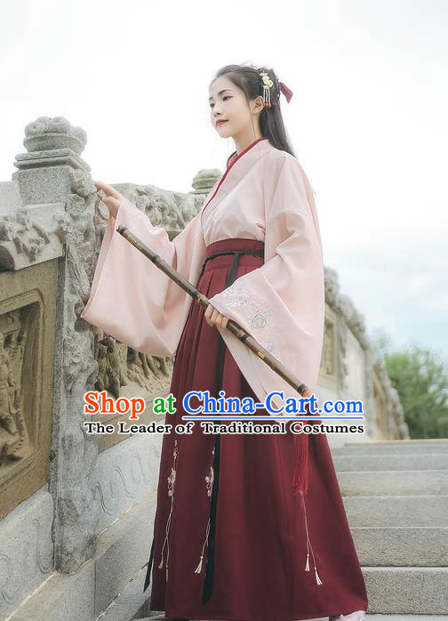 Asian China Ming Dynasty Princess Costume Embroidery Pink Blouse and Red Skirt, Traditional Ancient Chinese Princess Elegant Hanfu Clothing for Women