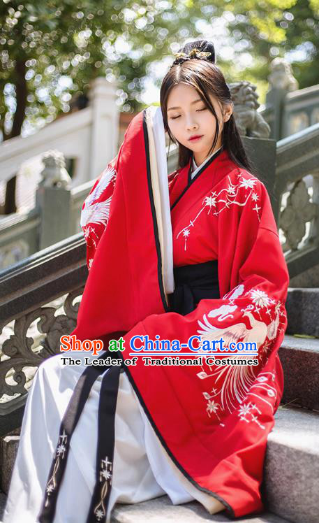 Asian China Han Dynasty Palace Lady Wedding Costume Embroidery Red Curve Bottom, Traditional Ancient Chinese Princess Elegant Hanfu Clothing for Women
