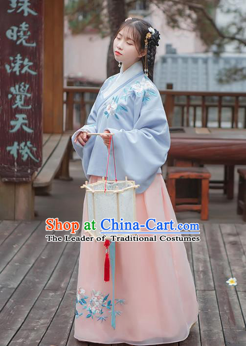 Asian China Ming Dynasty Palace Lady Wedding Costume Embroidery Blue Blouse and Pink Skirt, Traditional Ancient Chinese Princess Elegant Hanfu Clothing for Women