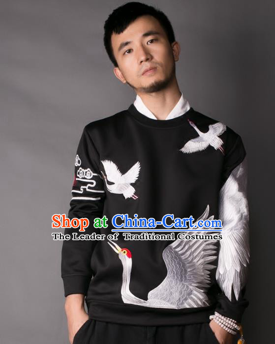 Asian China National Costume Embroidered Crane Black Sweater, Traditional Chinese Tang Suit Hoodie Clothing for Men