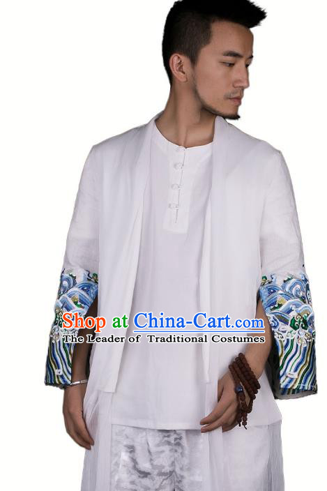 Asian China National Costume Embroidered Dust Coat, Traditional Chinese Tang Suit White Cardigan Clothing for Men