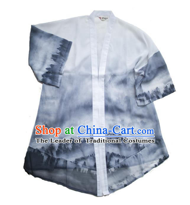 Asian China National Costume Ink Painting Coat, Traditional Chinese Tang Suit Cardigan Clothing for Men