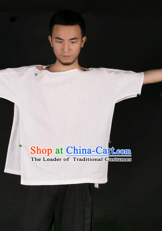 Asian China National Costume Linen Shirt, Traditional Chinese Tang Suit Underwear Clothing for Men