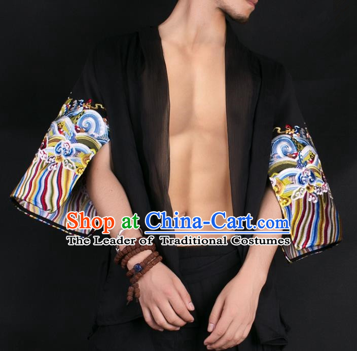 Asian China National Costume Embroidered Black Shirt, Traditional Chinese Tang Suit Underwear Clothing for Men