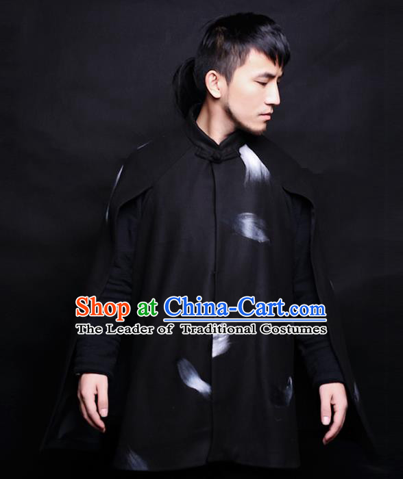 Asian China National Costume Woolen Coat, Traditional Chinese Tang Suit Jacket Clothing for Men