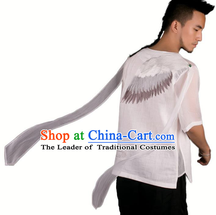 Asian China National Costume Embroidered Crane White Linen Shirt, Traditional Chinese Tang Suit Underwear Clothing for Men