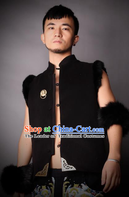 Asian China National Costume Black Vest, Traditional Chinese Tang Suit Plated Buttons Waistcoat Clothing for Men