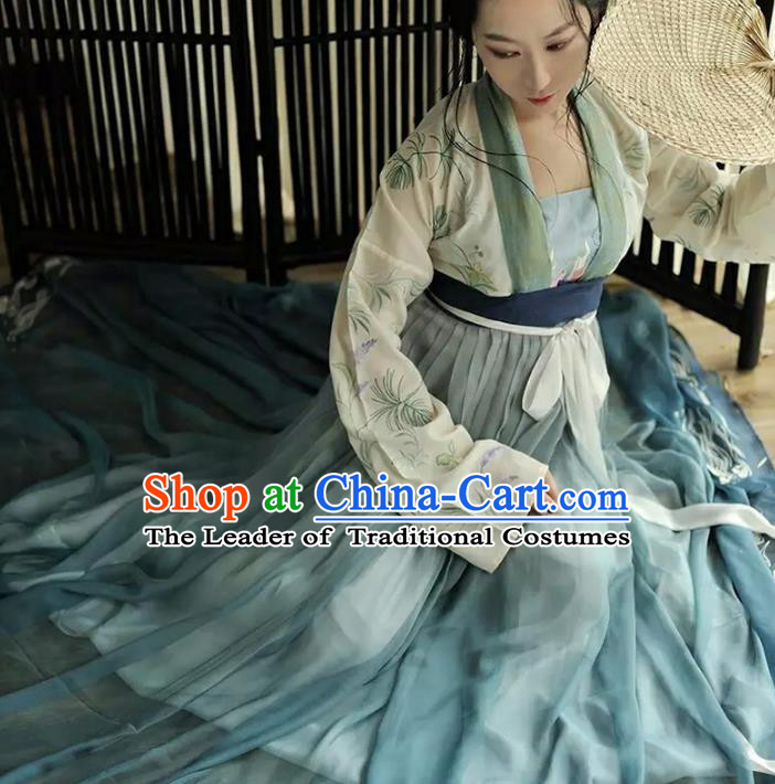 Asian China Tang Dynasty Palace Lady Embroidered Lotus Costume, Traditional Ancient Chinese Imperial Princess Elegant Hanfu Dress for Women