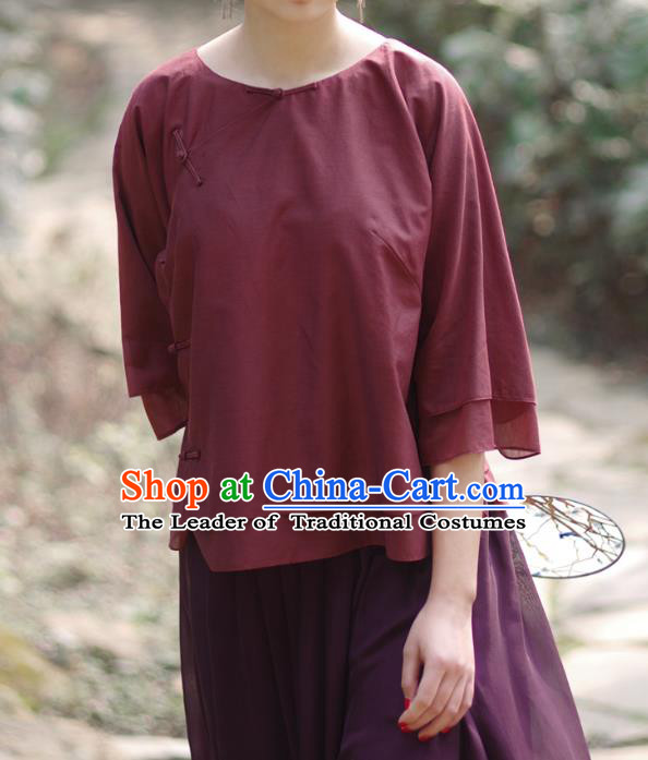 Asian China National Costume Slant Opening Wine Red Silk Hanfu Qipao Shirts, Traditional Chinese Tang Suit Cheongsam Blouse Clothing for Women