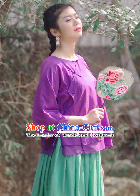 Asian China National Costume Slant Opening Deep Purple Silk Hanfu Qipao Shirts, Traditional Chinese Tang Suit Cheongsam Blouse Clothing for Women