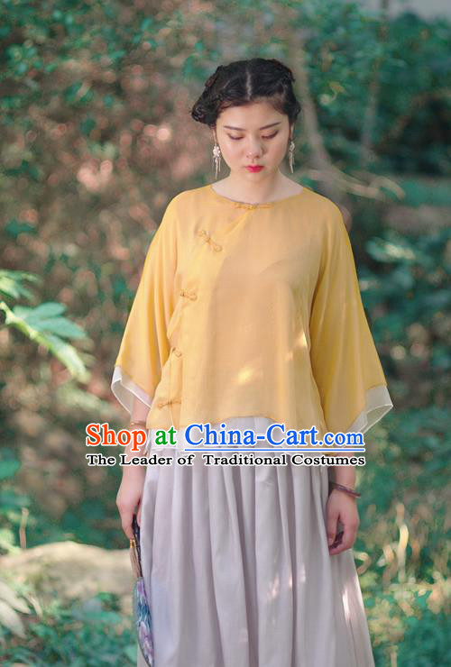Asian China National Costume Slant Opening Yellow Silk Hanfu Qipao Shirts Upper Outer Garment, Traditional Chinese Tang Suit Cheongsam Blouse Clothing for Women